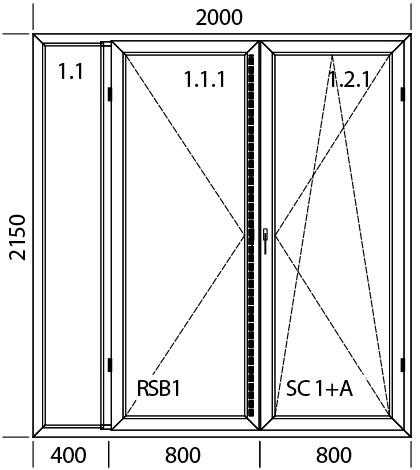 2000 x 2150 mm schema