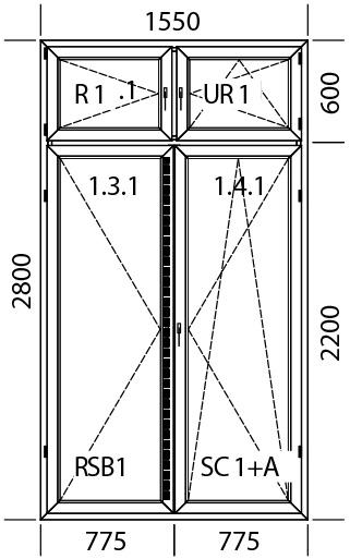 1550 x 2800 mm schema