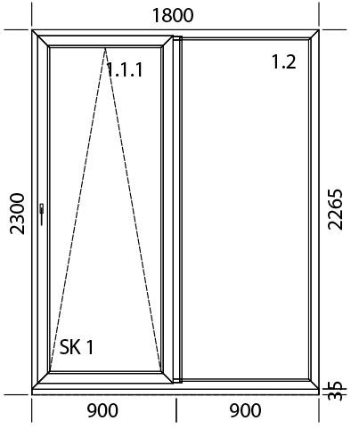 1800 x 2300 mm schema