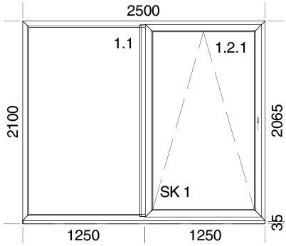 2500 x 2100 mm schema