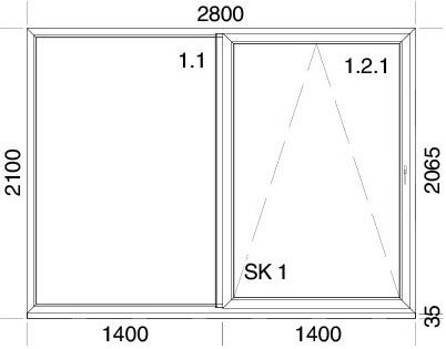 2800 x 2100 mm schema