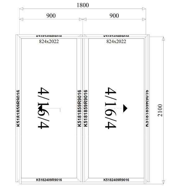 1800 x 2100 mm schema