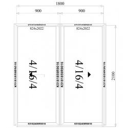 Aluminium Schiebetüren 1800 x 2100 mm MB59S