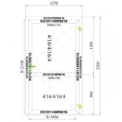 Aluminium Tür 1270 x 2200 mm Profil MB70