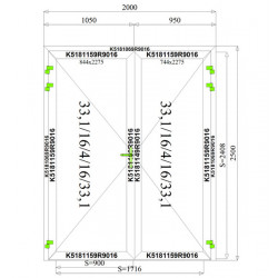 Aluminium Tür Sicherheitsglas 2000 x 2500 mm MB70
