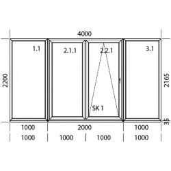 PSK Terassentür PVC 4000 x 2200 mm Schiebetür