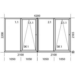 PSK Terassentür PVC 4200 x 2200 mm Schiebetür