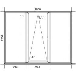 PSK Terassentür PVC 2800 x 2200 mm Schiebetür