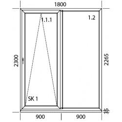 PSK Terassentür PVC 1800 x 2300 mm Schiebetür