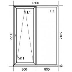 PSK Terassentür PVC 1600 x 2200 mm Schiebetür
