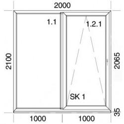 PSK Terassentür PVC 2000 x 2100 mm Schiebetür