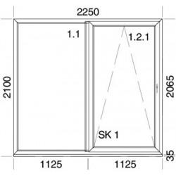 PSK Terassentür PVC 2250 x 2100 mm Schiebetür