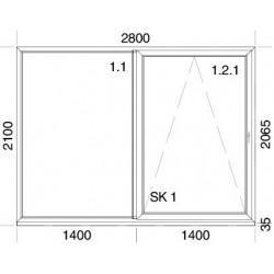 PSK Terassentür PVC 2800 x 2100 mm Schiebetür + Aluskin