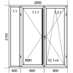 Konstoff Balkontür 2000 x 2150 mm FIX + DREH + DREH/KIPP