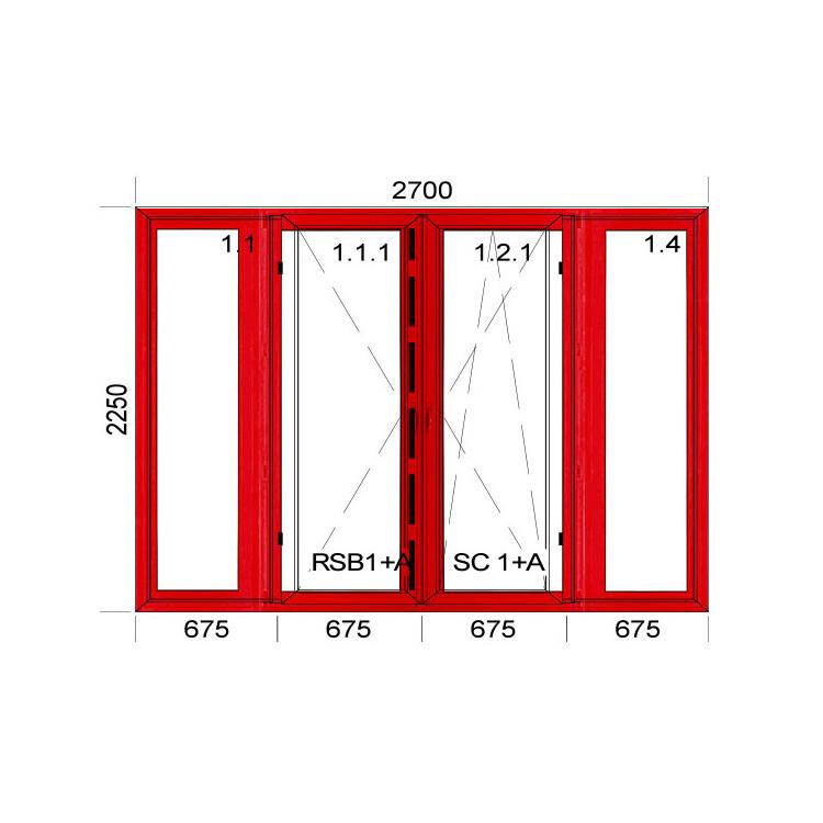 Kunstofffenster mit Aluskin 2700 x 2250 mm Terassentür FIX + DREH + DREH/KIPP + FIX