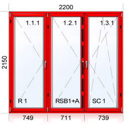 Kunstofffenster mit Aluskin 2200 x 2150 mm Terassentür DREH + DREH + DREH/KIPP