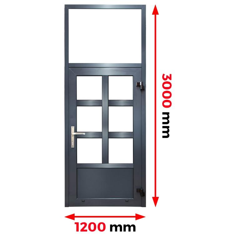 Aluminiumtür mit Oberlicht 1200 x 3000 mm Profil MB70